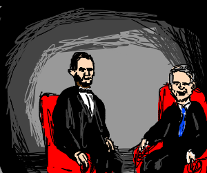 Abe Lincoln chats with G.W. Bush.
