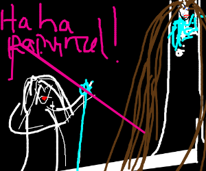 Rapunzel is inside Saruman's tower at Isengard