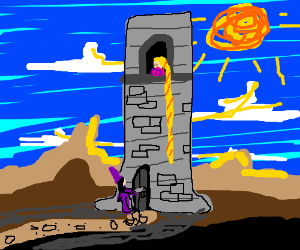 Witch locks Rapunzel in tower.