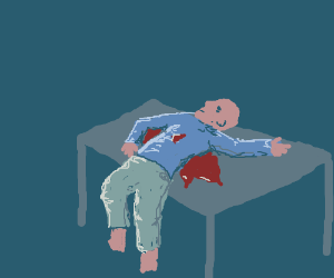 dead man over the table