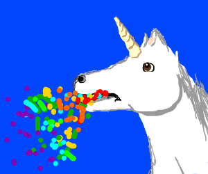 Unicorn vomits rainbow confetti