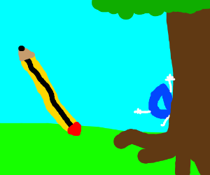 Drawception D plays hide & seek with pencil
