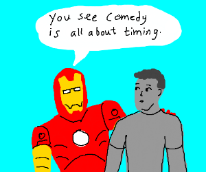 Ironman giving humour advice to some grey guy