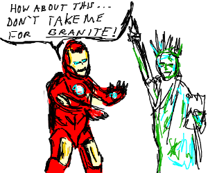 Iron Man teaches a statue how to be funny