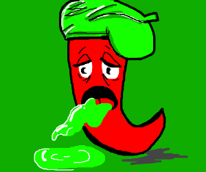 A chili pepper with a beret is sick