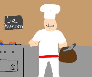 A cook with a gun hidden in a bag