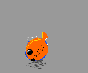 Goldfish is too big for his bowl!