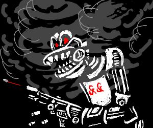 Smoking & & white gun monster