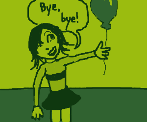 Person lets go of balloon