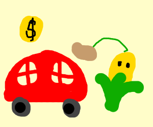 Red car, some corn, and a nickel