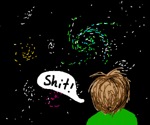 Faced with the beauty of the cosmos, he curses