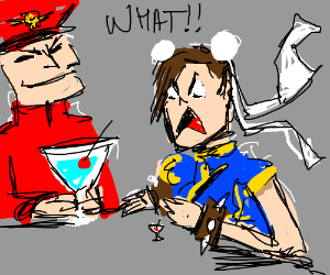 Chun Li is annoyed her cocktail is smallest