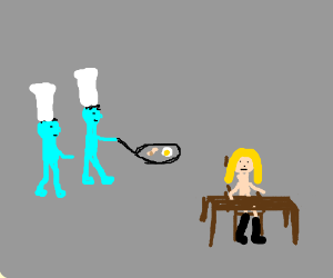 Blue men cook breakfast 4 girl with high boots