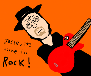 Heisenberg playing guitar, wants Jesse to join
