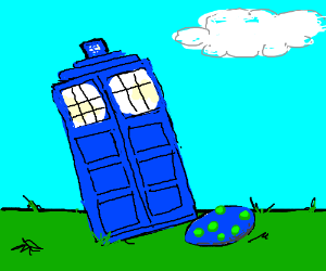 Tardis lays a blue egg with green spots