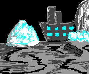 Titanic avoids iceberg, crashes into waterfall