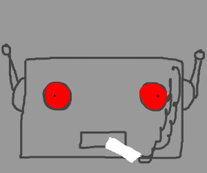 Evil ampersand robot is smoking.