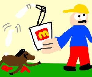 Crazy man kills a horse with a milkshake