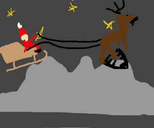 Santa seems to be stuck on a mountainside