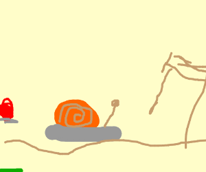 Two snails racing to the finish