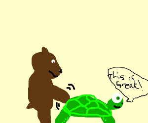 A bear spanking a turtle that really likes it