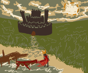 Roman/King arrives on beach. looks at castle