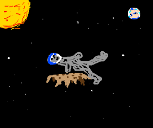 man floats in space  on  melted cookie
