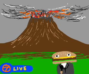 hamburger man commentates volcano