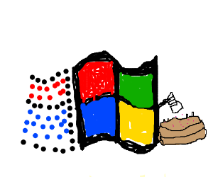 windows logo putting sprinkles on a cake