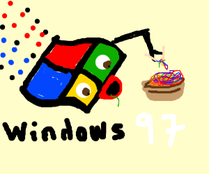 Windows 97 eats rainbow noodles