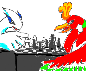 Lugia and Ho-Oh playing chess