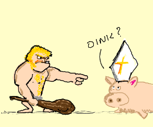 Blonde neanderthal confronts the pig priest