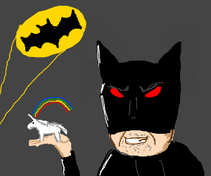 Evil elder batman got a small unicorn on hand