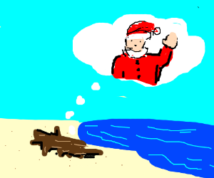 Driftwood daydreaming about visit from Santa.