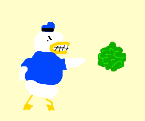 Donald Duck is furious at lettuce!