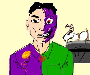 Two-Face decides goat's fate with coin flip.