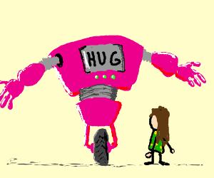 Pink robot offers hugs to drunk little girl