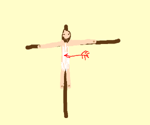 naked man pinned to wooden cross w/ red arrow
