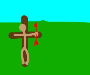 Jesus has a red arrow