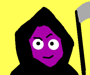 purple thing in death costume (costume?)