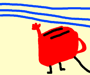 Toaster w/handle reaches for blue lines