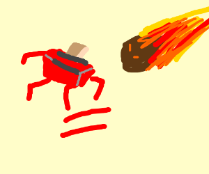 Red toaster runs from a meteorite.