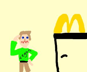 Confused vegan salutes McDonalds