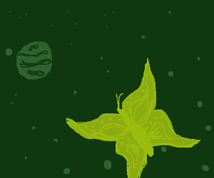 A butterfly lands on a distant planet.