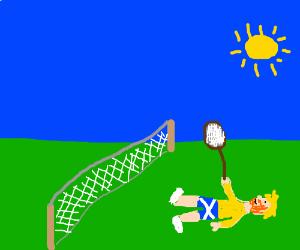 Murray is sunbathing
