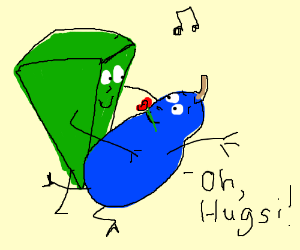 Hugsi the green wedge dances with a blue pear