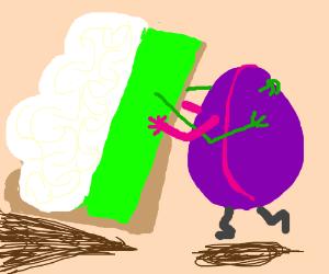 Slice of key-lime pie hug-dances with plum.