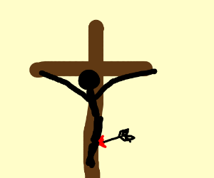 Jesus assassinated by arrow on the cross.