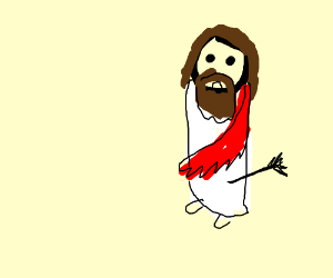 Jesus takes an arrow to the knee. Not his day.