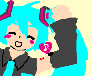 Blue haired anime girl likes music.